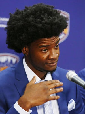 Phoenix Suns draft pick Josh Jackson addresses the media during a press conference on Jun. 23, 2017 at at Talking Stick Resort Arena in Phoenix, Ariz. Jackson, the Kansas forward was selected by the Suns with the fourth overall pick in the first round of the 2017 NBA Draft.