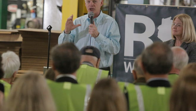 United States Senator Ron Johnson made his announcement Monday, May 2, 2016, that he is running for the U.S. Senate with his wife Jane at PACUR the manufacturing business which he started with his brother in 1979 in Oshkosh, WI.  About 200 people attended the invite only event.  He is running against Russ Feingold.Joe Sienkiewicz / USA TODAY NETWORK-Wisconsin