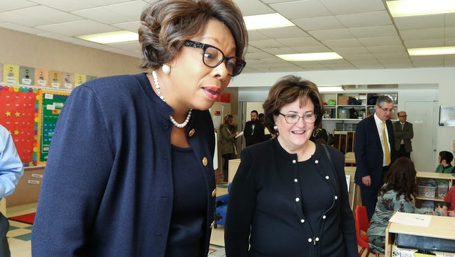 East Ramapo Schools Superintendent Dr. Deborah Wortham, left, and New York State Commissioner of Education MaryEllen Elia during a visit to Elmwood Elementary School in Monsey Feb. 16, 2017.
