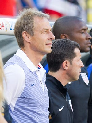 United States head coach Jurgen Klinsmann (L) stands with his coaching staff prior to their match against Colombia during the group play stage of the 2016 Copa America Centenario at Levi's Stadium. Colombia won 2-0.