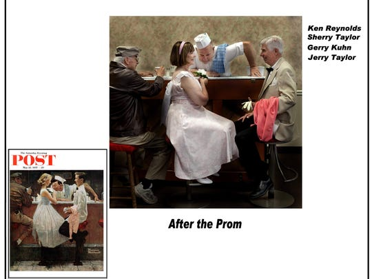"""Parkwood Heights residents Ken Reynolds, Sherry Taylor, Gerry Kuhn and Jerry Taylor recreate Norman Rockwell's """"After the Prom"""" for their """"Salute to the Saturday Evening Post"""" calendar."""