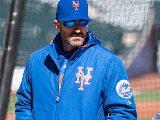 New York Mets manager Mickey Callaway (36) looks on during batting practice prior to the game against the St. Louis Cardinalsat Citi Field.