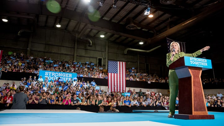 Hillary Clinton speaks at a rally in Entertainment