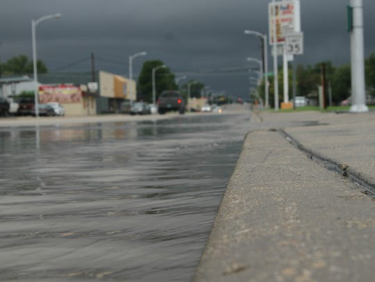 Levels of water reached the height of a curb on Mermod