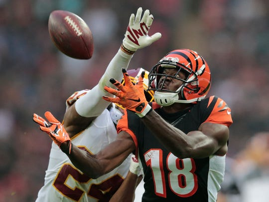 Cincinnati Bengals wide receiver A.J. Green (18) torched Washington CB Josh Norman during their matchup in England.