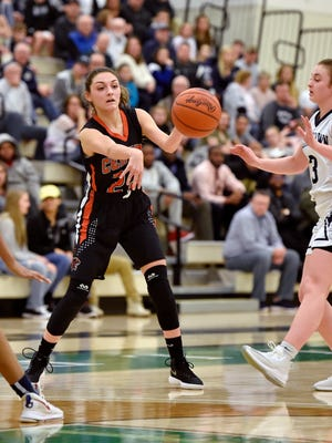 In this file photo, Central York's Sarah Sepic passes the ball against Dallastown in the second half of the YAIAA girls' basketball championship game Friday, Feb. 6, 2018, at the Grumbacher Sport and Fitness Center at York College.
