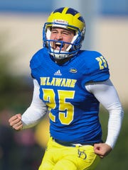 Delaware kicker Frank Raggo celebrates his 55-yard field goal, good for a school record and the first points of the game in the first quarter against JMU at Delaware Stadium.