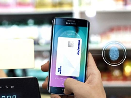 Samsung phone with Samsung Pay open.