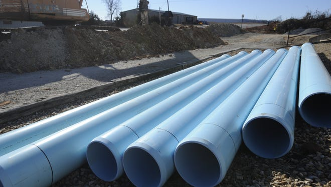 Water pipes are shown at a recent construction project.