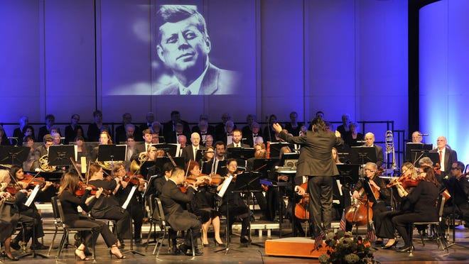 Jung-Ho Pak conducts the Cape Symphony during a 2017 concert honoring John F. Kennedy at the Barnstable Performing Arts Center. The symphony has canceled its season because the high school venue is not available because of the coronavirus pandemic.
