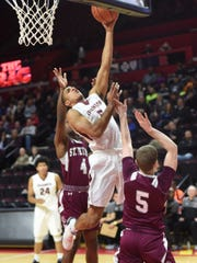 Don Bosco #5 Matt Herasme finding some space as the goes to the basket  during the North Non-Public A boys basketball final at the Rutgers Athletic Center in Piscataway on Thursday, March 8, 2018. Don Bosco won in double overtime.