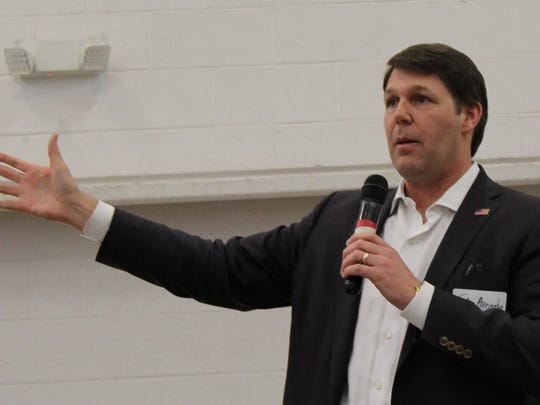 U.S. Rep. Jodey Arrington addresses the annual meeting of the Rolling Plains Cotton Growers Inc. on Tuesday in conjunction with the Texas Farm Ranch Wildlife Expo at the Taylor County Expo Center.