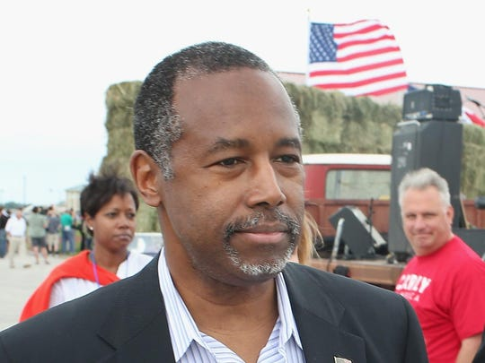 Republican presidential hopeful Dr. Ben Carson attends a Roast and Ride event hosted by Sen. Joni Ernst (R-IA) on June 6 in Boone. Ernst is hoping the event, which featured a motorcycle tour, a pig roast, and speeches from several 2016 presidential hopefuls, becomes an Iowa Republican tradition.