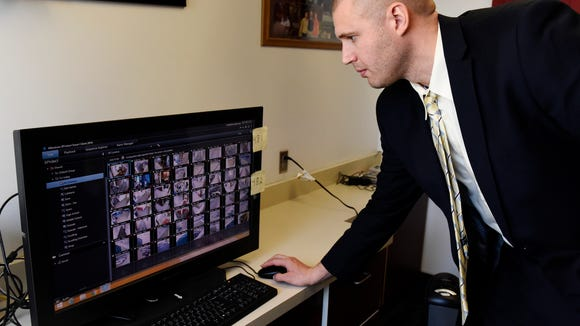 Mike Lodmel, superintendent of Tri-Valley Schools in Colton, shows off a new surveillance system they use to monitor security at the school.
