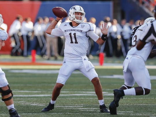 Zach Terrell #11 of the Western Michigan Broncos drops
