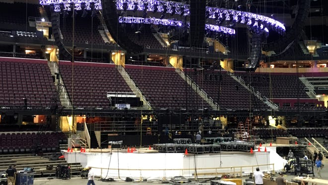 Work on the main stage at the Quicken Loans Arena continues in late June for the Republican National Convention in Cleveland. Arizona delegate Jack Harper is raising money to attend.