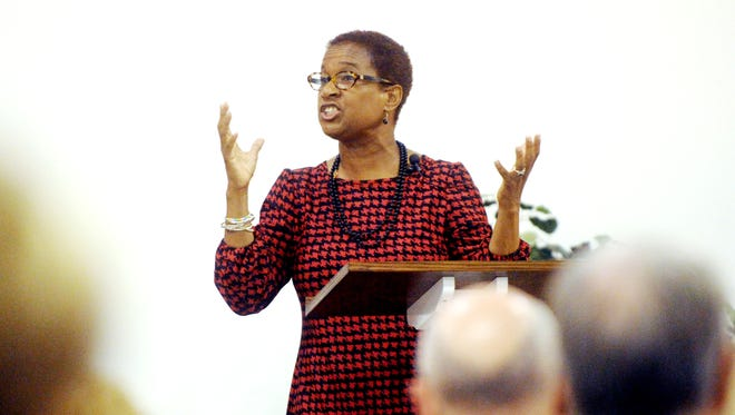 """Felicia Hopkins delivers a sermon titled """"Do You Know What I Have Done?"""" based on John 13: 1-17 at the annual Holy Week Luncheon Series at First Christian Church. Hopkins will be leaving Abilene for a supervisory post in the United Methodist Church."""