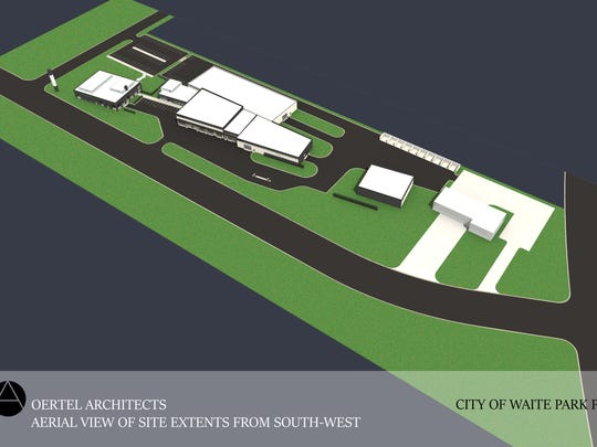A preliminary site plan for the proposed Waite Park public works facility shows, from left, an event center, public works buildings and a salt storage facility.