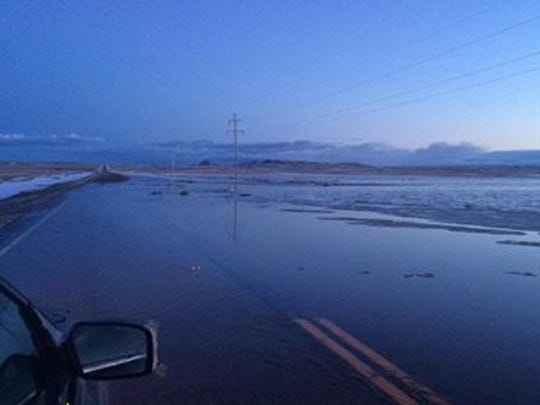 Flood water covered part of Highway 66 on the Fort Belknap Reservation between Hays and Fort Belknap Agency Tuesday evening, April 17, 2018.