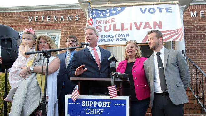 Suspended Clarkstown Police Chief Michael Sullivan, center, surrounded by his family announces he is running for Clarkstown Supervisor at Congers Veterans Memorial Association in Congers April 17, 2017.