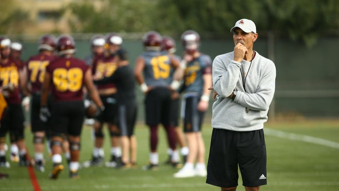 Arizona State head coach Herm Edwards holds his first spring football workout on March 13, 2018 in Tempe, Ariz.