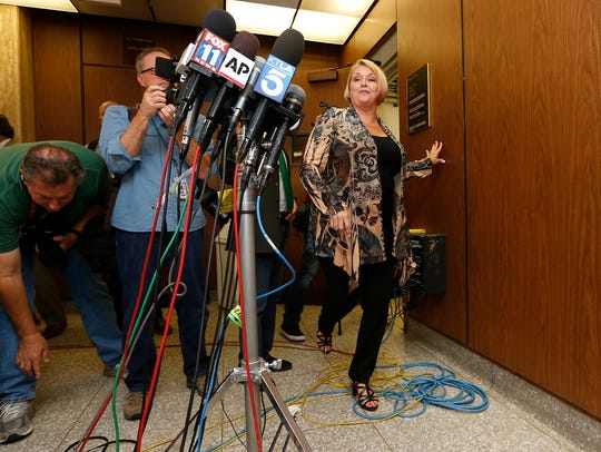 Samantha Geimer faces the media at Los Angeles Superior