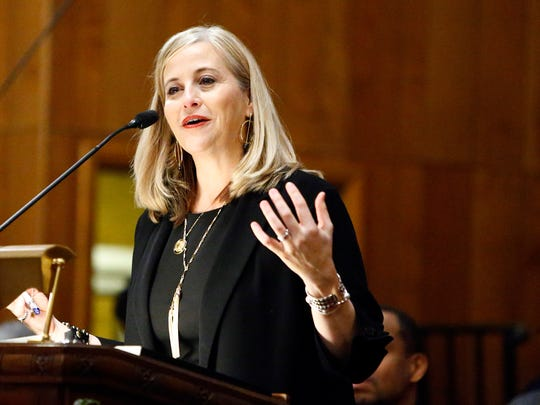 Nashville Mayor Megan Barry speaks to guests about voting during Rev. Jesse Jackson's visit to New Hope Missionary Baptist Church, Tuesday, Feb. 13, 2018, in Nashville, Tenn.
