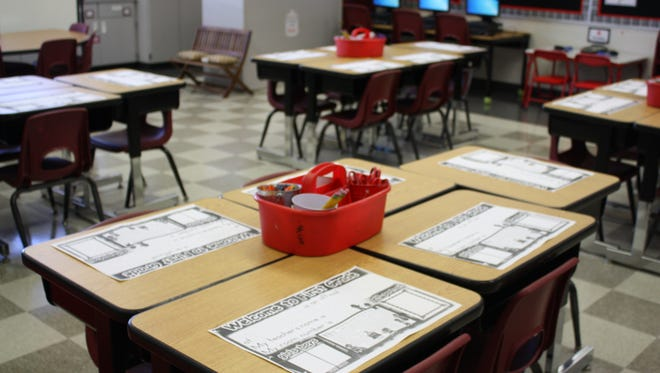A classroom at Roy Allen Elementary School. Desk clusters, rather than separated desks, encourage group work and collaboration.