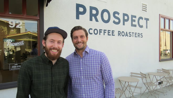 Brothers Blake Ulrich, left, and Derek Ulrich opened Prospect Coffee Roasters this week at 92 S. Laurel St. in downtown Ventura.