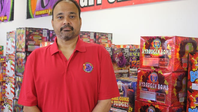 Joseph Mele, manager of the Phantom Fireworks store in Cocoa, says the county burn ban proposal could ruin his business,