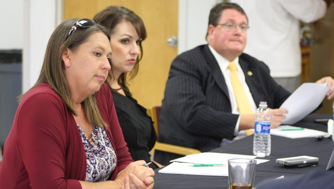 The Brevard County school board met with members of the Florida House and Senate on Wednesday to discuss legislative priorities for the next session. From left to right: Board chair Misty Belford, board member Tina Descovich and Rep. Randy Fine.
