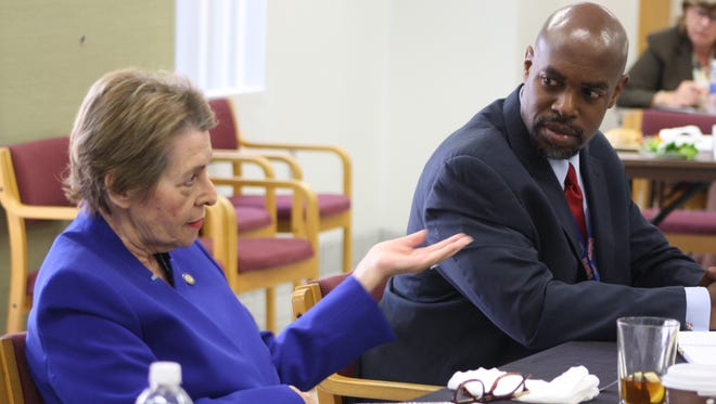 Sen. Dorothy Hukill and Superintendent Desmond Blackburn at a meeting Wednesday to discuss legislative priorities for the next session.
