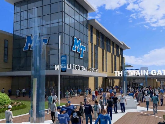 An artist rendering of the proposed MTSU athletic plaza,