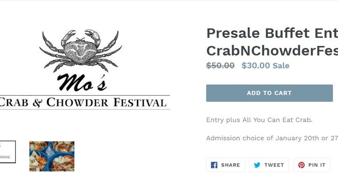 "A now-defunct web page offering tickets to ""Mo's Crab and Chowder Festival"" in Sioux Falls. The page for the non-existent event was removed after the poster was contacted by Argus Leader Media."