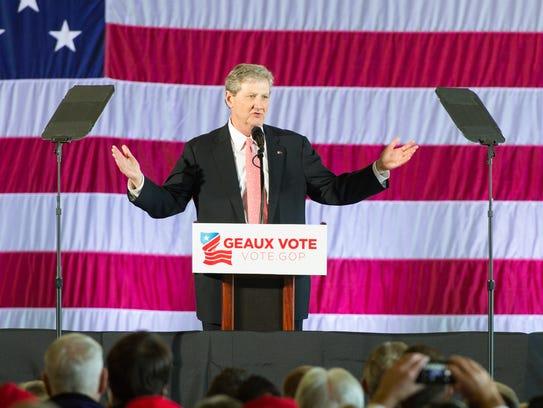 John Kennedy speaking at GOP Rally at Baton Rouge Airport.