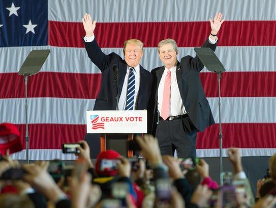 John Kennedy Donald Trump at GOP Rally at Baton Rouge