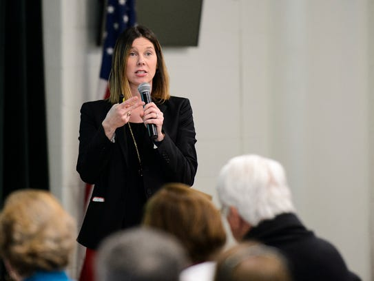 Jill Joines speaks to Five Forks area residents during