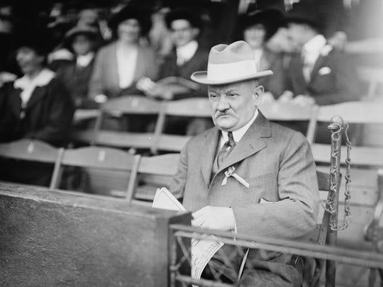 "Cincinnati Reds President August ""Garry"" Herrmann presided over the peace talks to put an end to the baseball war."