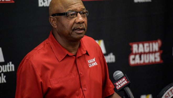 UL defensive coordinator Melvin Smith speaks during football media day at the UL Alumni Center in Lafayette, Wednesday, Aug. 5, 2015.