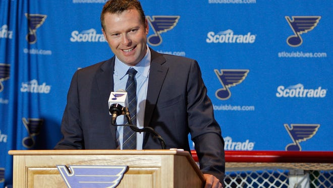 Martin Brodeur announces his retirement during a press conference at Scottrade Center.