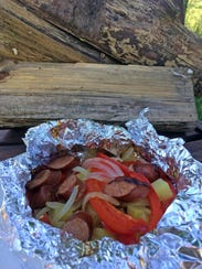 Foil-Wrapped Sausage, Potatoes, Peppers and Beer will