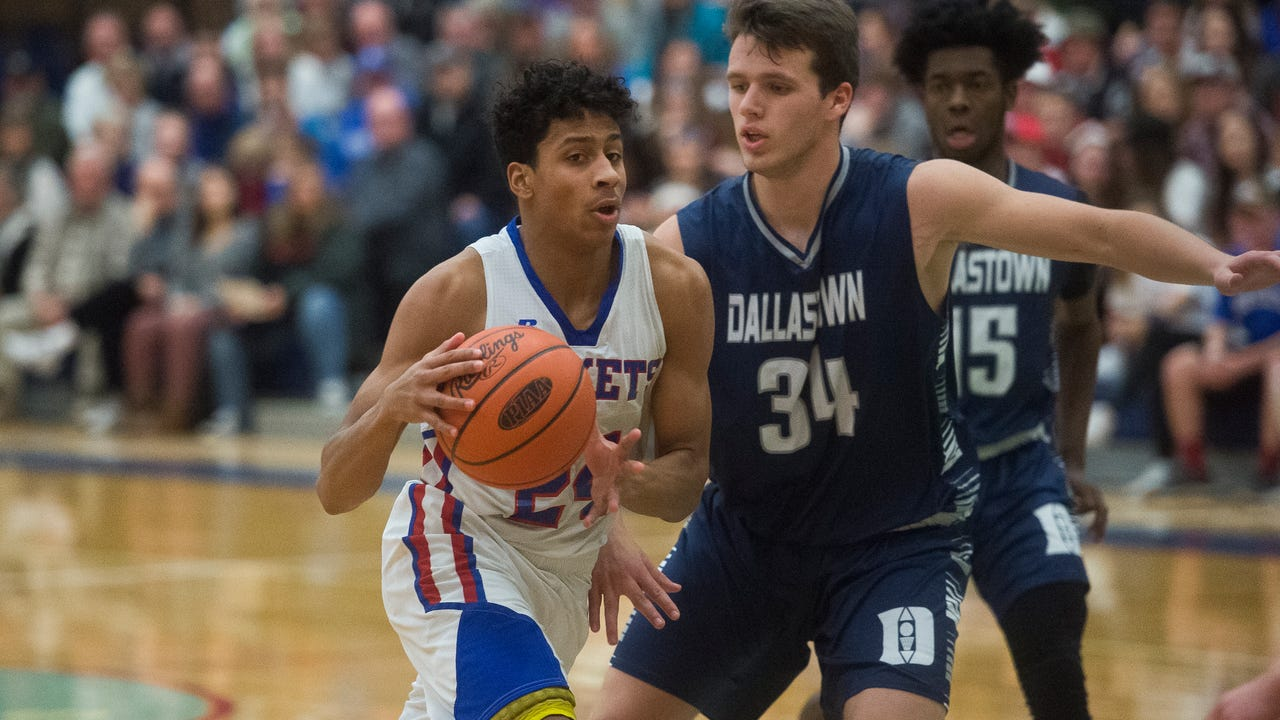 Spring Grove senior Eli Brooks discusses the team's tough Division I schedule after beating Dallastown, 70-59, on Friday night.