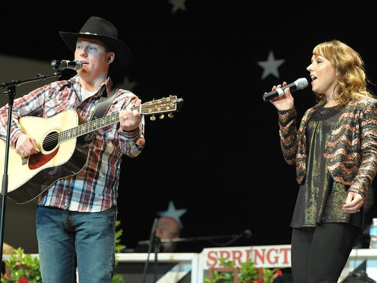 Gerry Hocker and sister BethAnn entertain the crowd