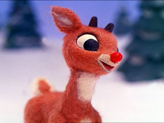 "Rudolph in a scene from ""Rudolph the Red-Nosed Reindeer."""