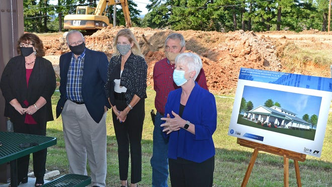 Arkansas Human Services Secretary Cindy Gillespie speaks to guests at a groundbreaking ceremony on Friday, Oct. 2 at the Booneville Human Development Center. Three new dormitories are under construction at the center.