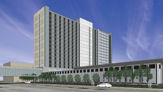 A rendering of the proposed $130 million convention hotel in downtown Des Moines.