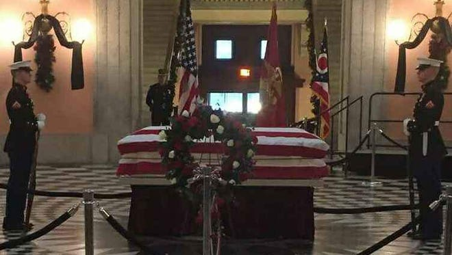 Marines guard the casket of former astronaut, senator and Marine John Glenn. Among the Marines was Fremont Ross High School graduate Connor McDaniel.