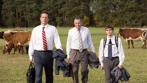 """This image released by 20th Century Fox shows, from left, Vince Vaughn, Tom Wilkinson and Dave Franco in a scene from """"Unfinished Business."""" (AP Photo/20th Century Fox, Jessica Miglio)"""