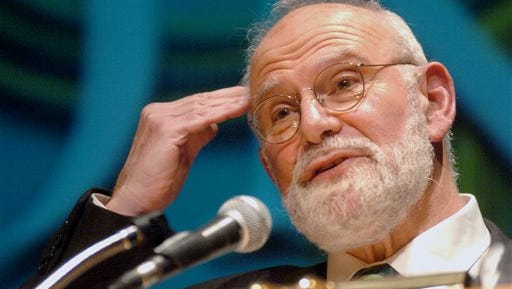 FILE- In this Oct. 26, 2005, file photo, Dr. Oliver Sacks speaks about Alzheimer's disease to an audience at Fairfield University in Fairfield, Conn. Sacks, a neurologist and writer, died Sunday, Aug. 30, 2015. (Johnathon Henninger/Connecticut Post via AP, File) MANDATORY CREDIT