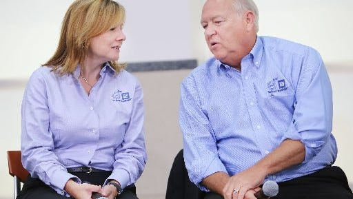 General Motors CEO Mary Barra and UAW President Dennis Williams at the beginning of bargaining in July.